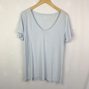 J.Crew Pale Blue Rolled V-Neck Supima Cotton Tee